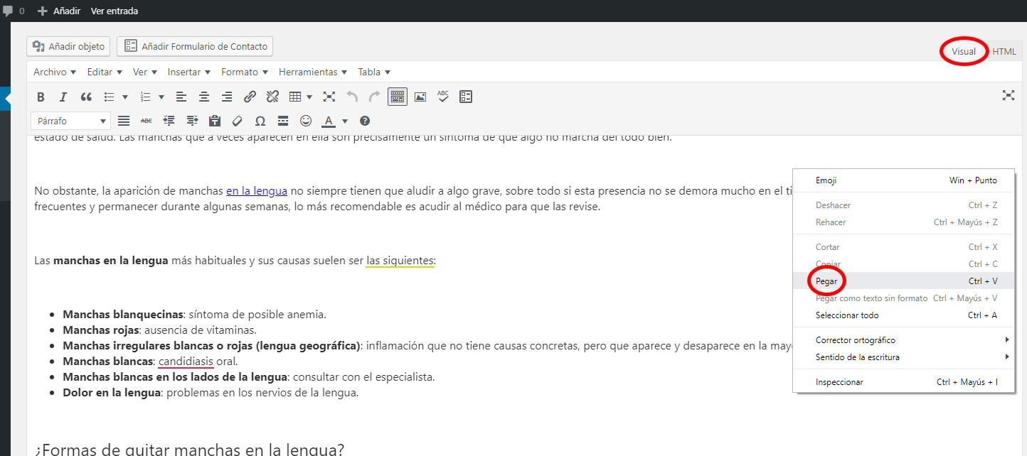 copiar pegar wordpress visual