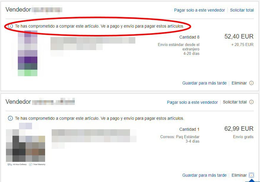 ebay te has comprometido a comprar