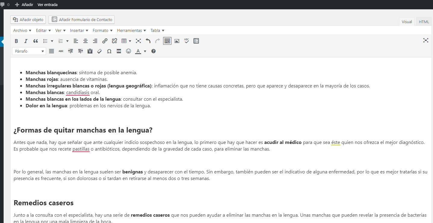 pegar texto visual wordpress