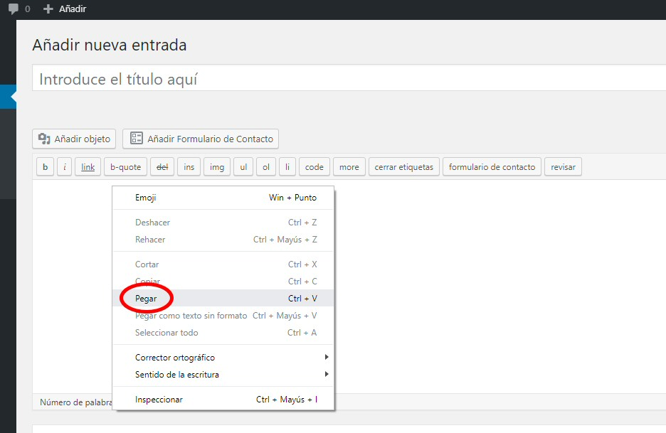 wordpress nueva entrada pegar