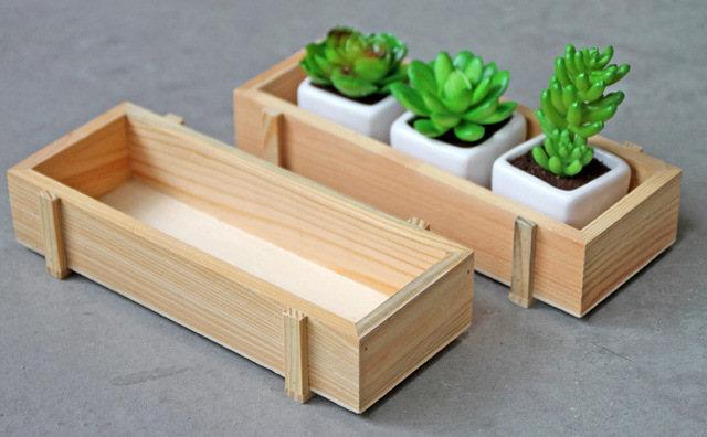 cajas madera plantas