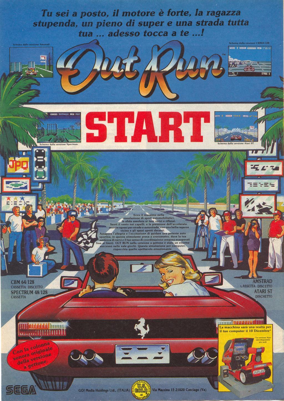 outrun arcade juego poster 1986