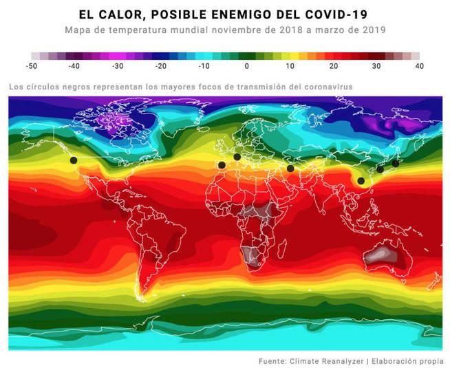 coronavirus covid-19 mapa temperatura