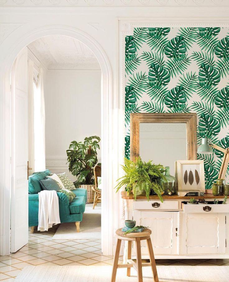 decoracion plantas papel pintado