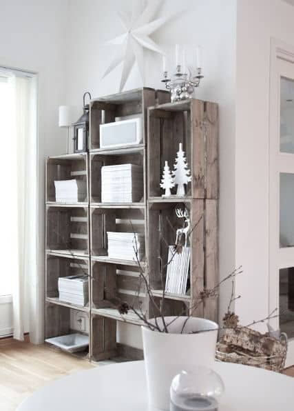 cajas madera estanteria