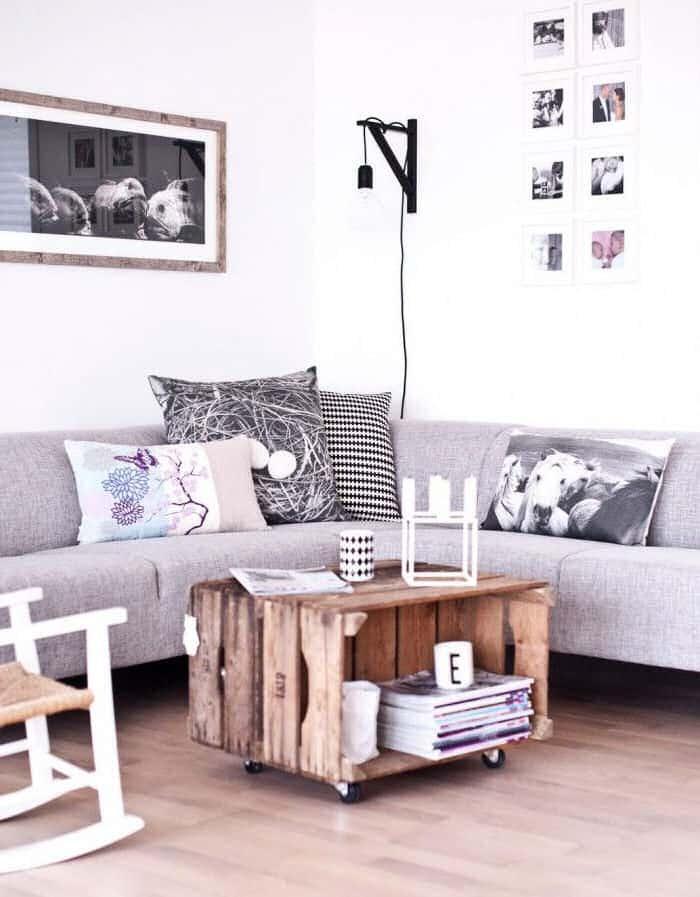 cajas madera mesa salon