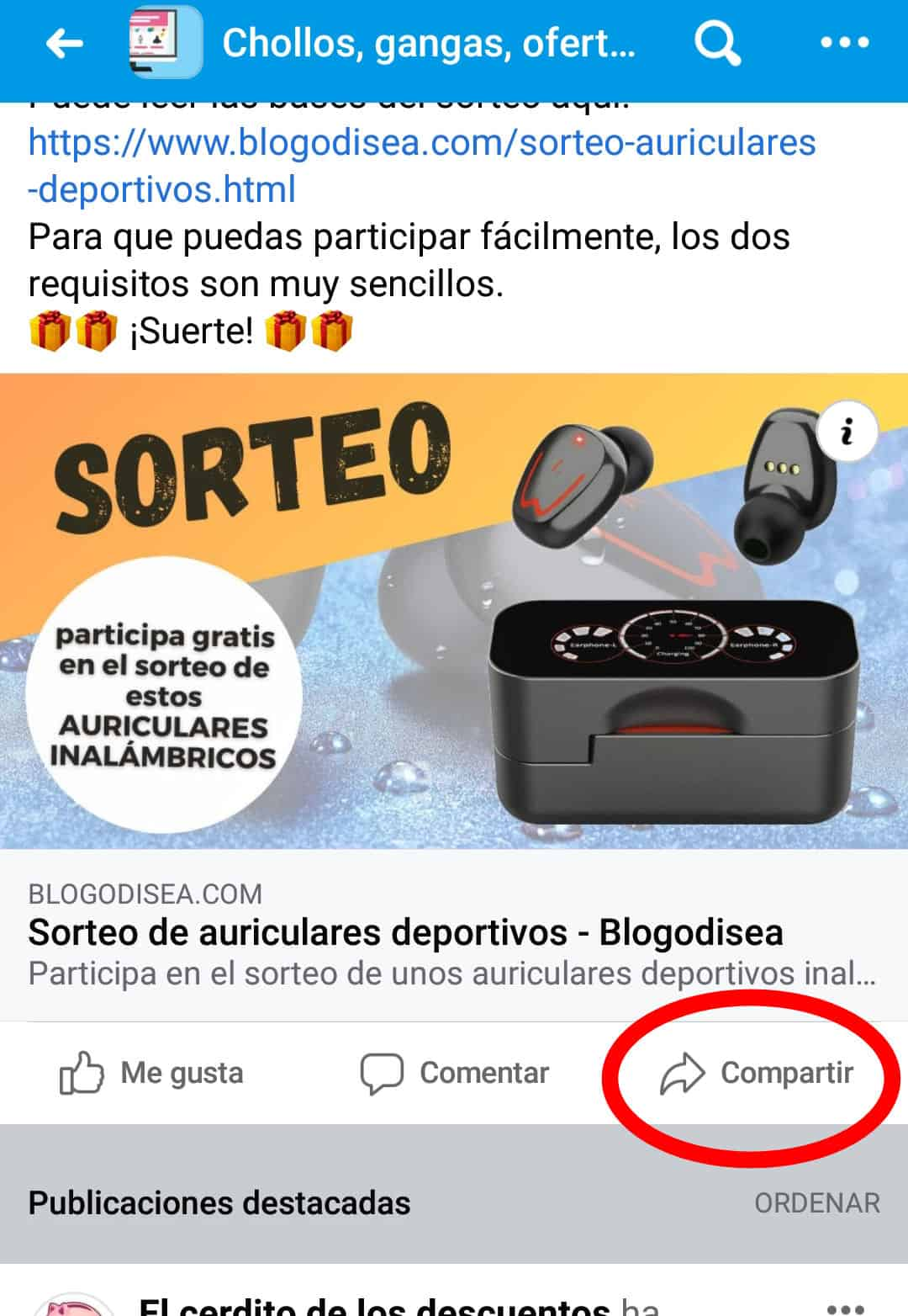 sorteo compartir facebook