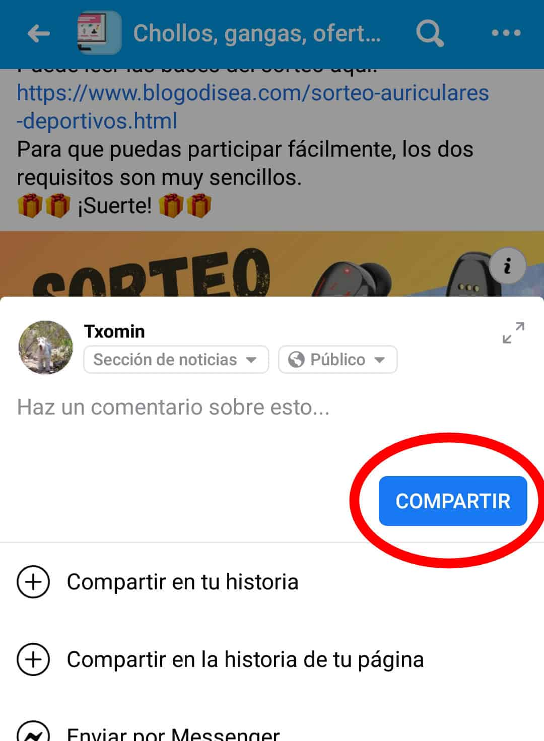 sorteo facebook compartir
